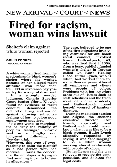 Fired For Racism, Woman Wins Lawsuit