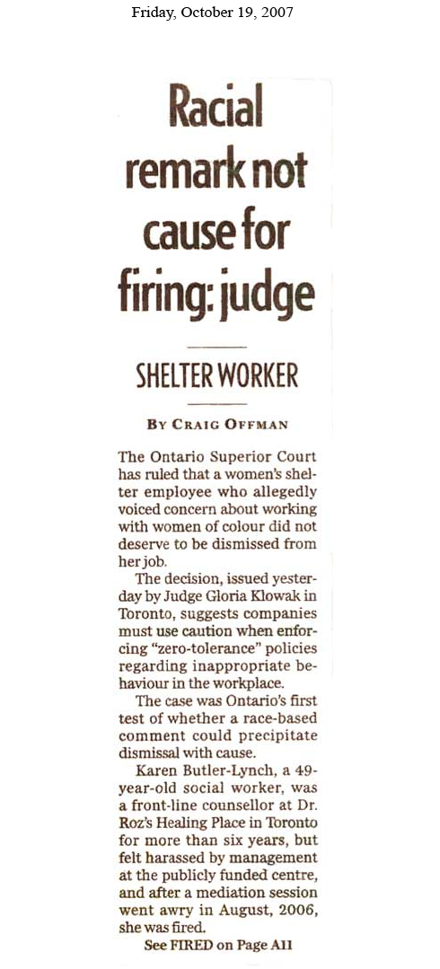 Racial Remark Not Cause For Firing - Judge pg1
